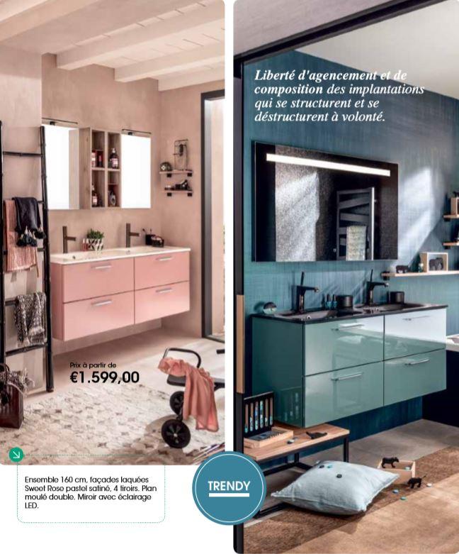 Meubles de salle de bains colorés, inspiration Facq chez Lenartz